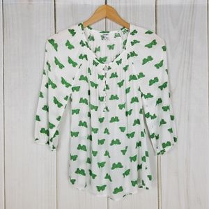 Old Navy White and Green Butterflies Rayon Blouse
